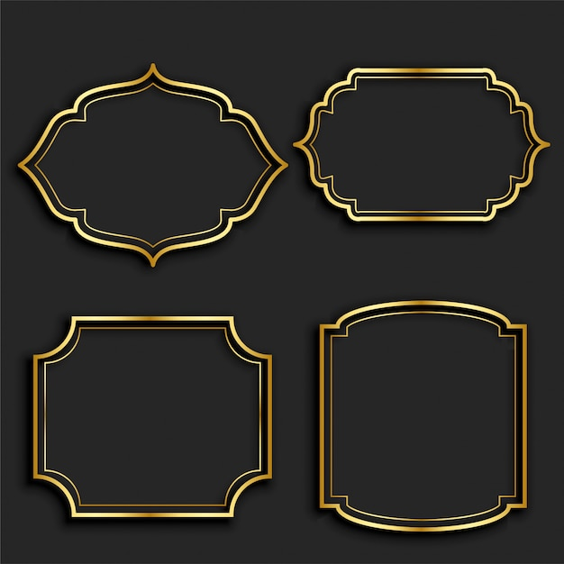 Conjunto de rótulos de moldura vintage dourado Vetor grátis