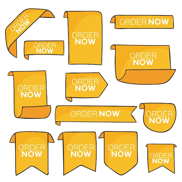 Conjunto de rótulos de ordem amarela agora Vetor Premium
