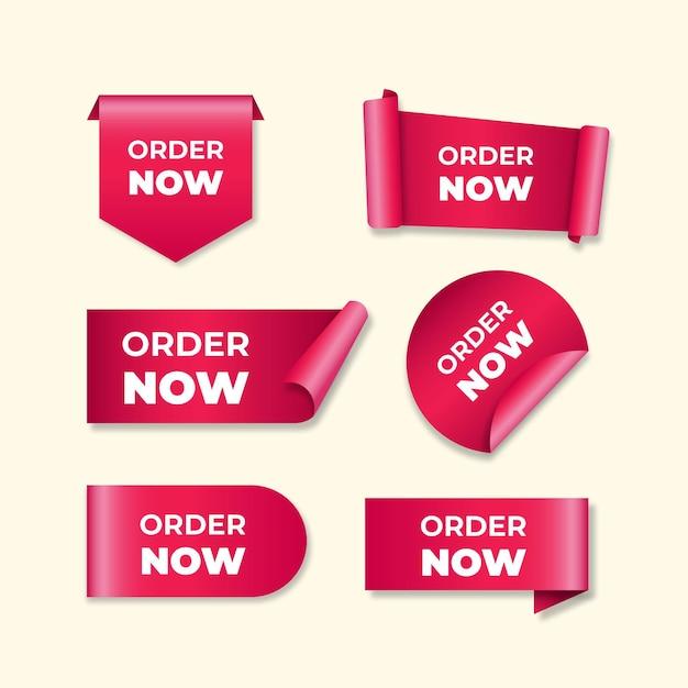 Conjunto de rótulos de ordem rosa agora Vetor Premium