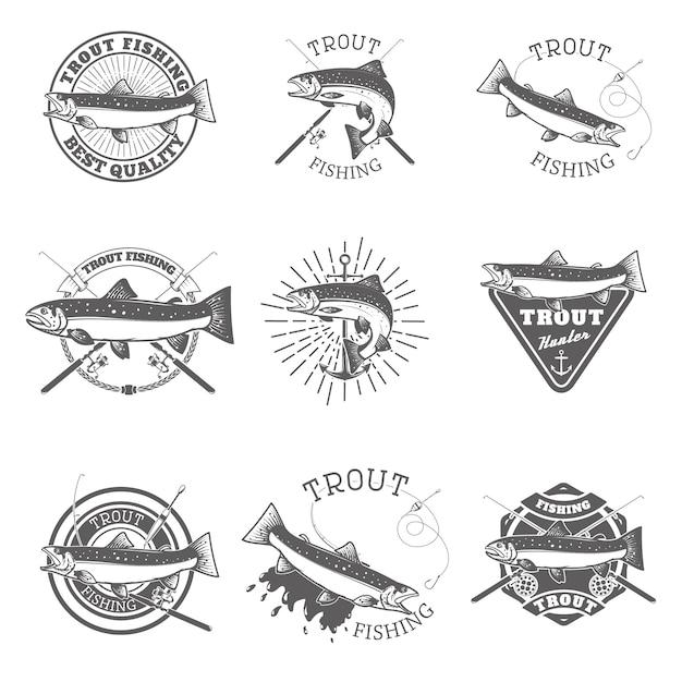 Conjunto de rótulos de pesca de truta. Vetor Premium