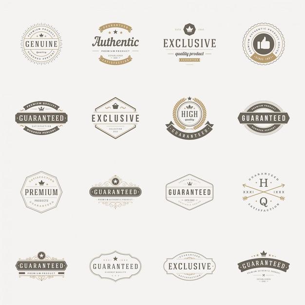 Conjunto de rótulos de qualidade premium vintage retrô Vetor Premium