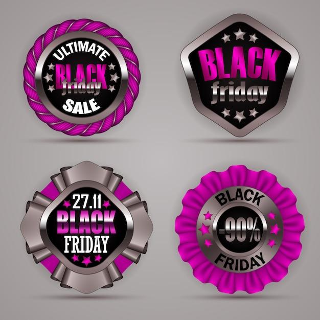 Conjunto de rótulos de sexta-feira negra Vetor Premium