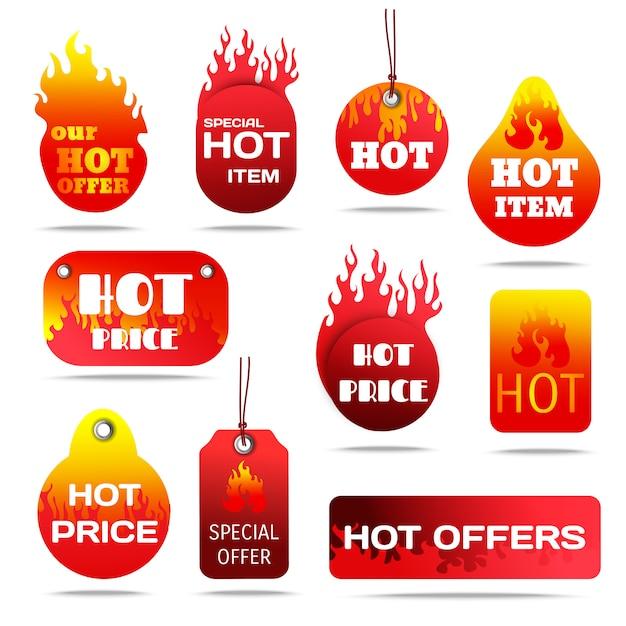 Conjunto de rótulos de venda quente Vetor grátis