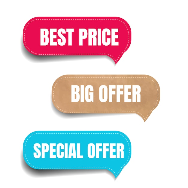 Conjunto de rótulos de venda Vetor Premium