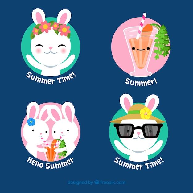 Conjunto de rótulos de verão com coelhos bonitos Vetor grátis