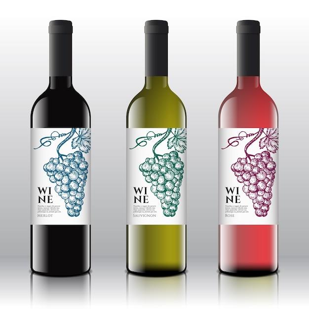 Conjunto de rótulos de vinho tinto, branco e rosa de qualidade premium em garrafas realistas. Vetor grátis