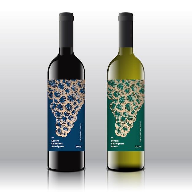 Conjunto de rótulos de vinho tinto e branco de qualidade premium em garrafas realistas. Vetor grátis