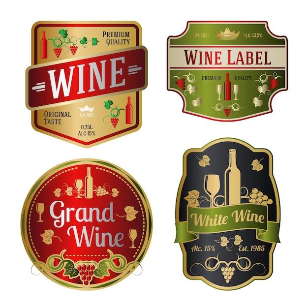 Conjunto de rótulos de vinhos coloridos de diferentes formas. Vetor Premium