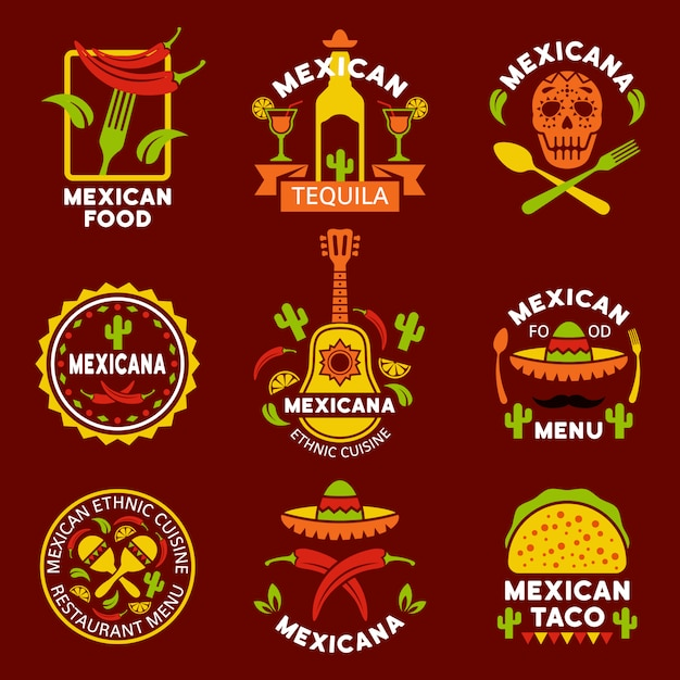 Conjunto de rótulos, emblemas e distintivos da culinária étnica mexicana de elementos de design Vetor Premium