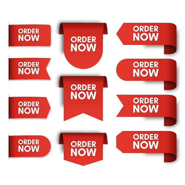 Conjunto de rótulos promocionais do pedido agora Vetor Premium
