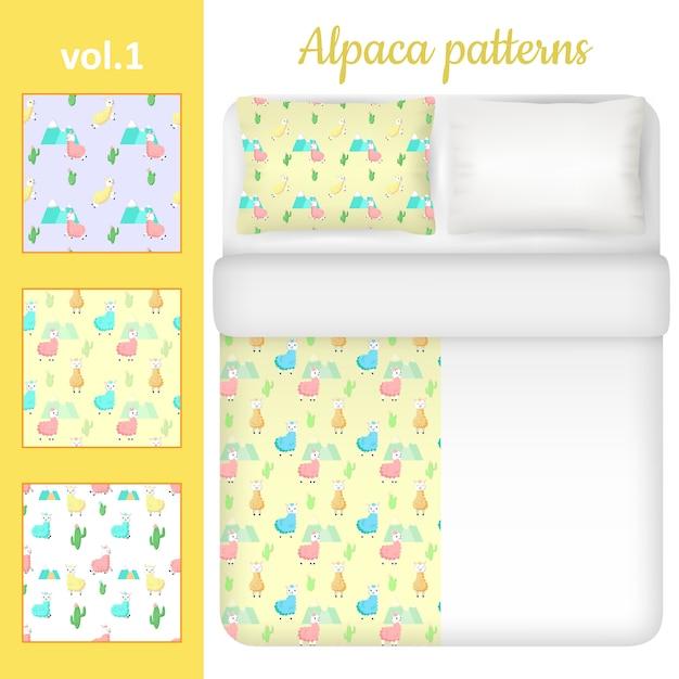 Conjunto de roupa de cama em branco e bonito alpaca branco Vetor Premium