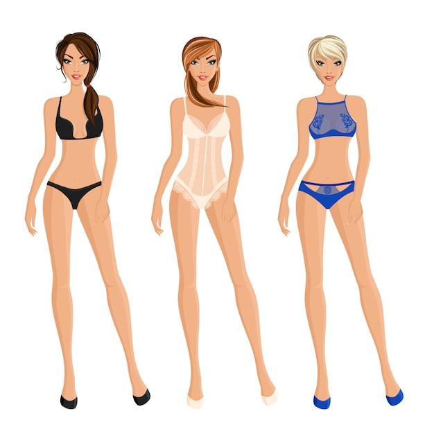 Conjunto de roupa interior das mulheres Vetor grátis