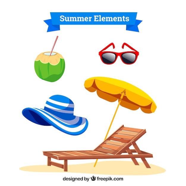 Conjunto de roupas de verão e elementos em estilo simples Vetor grátis