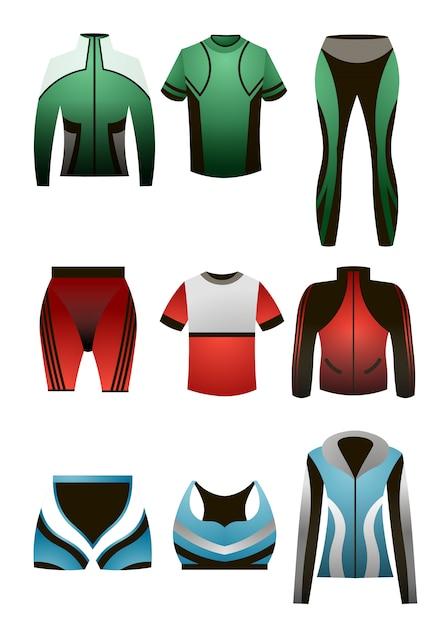Conjunto de roupas térmicas de esporte colorido para homens e mulheres Vetor Premium