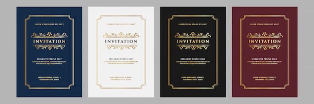Conjunto de royal e luxo vintage de cartão de convite para modelo de cartão de celebração de festa de aniversário de aniversário de casamento Vetor Premium
