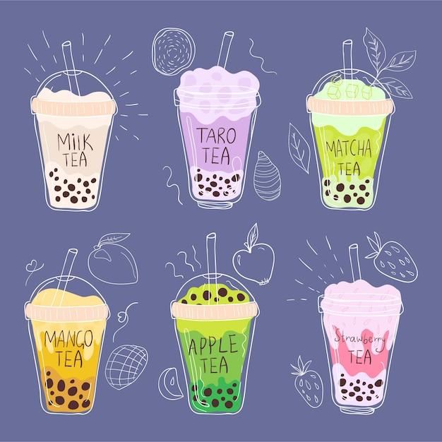 Conjunto de sabores de chá de bolhas desenhadas à mão Vetor grátis
