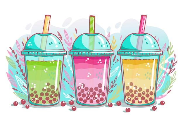 Conjunto de sabores de chá de bolhas desenhadas à mão Vetor Premium