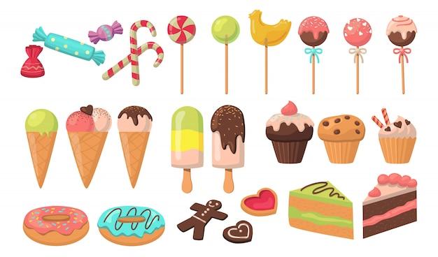 Conjunto de saborosos doces coloridos Vetor grátis