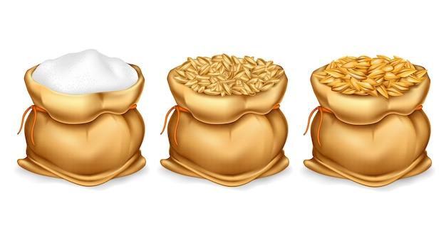 Conjunto de saco de lona realista cheio de grãos ou cereais Vetor grátis