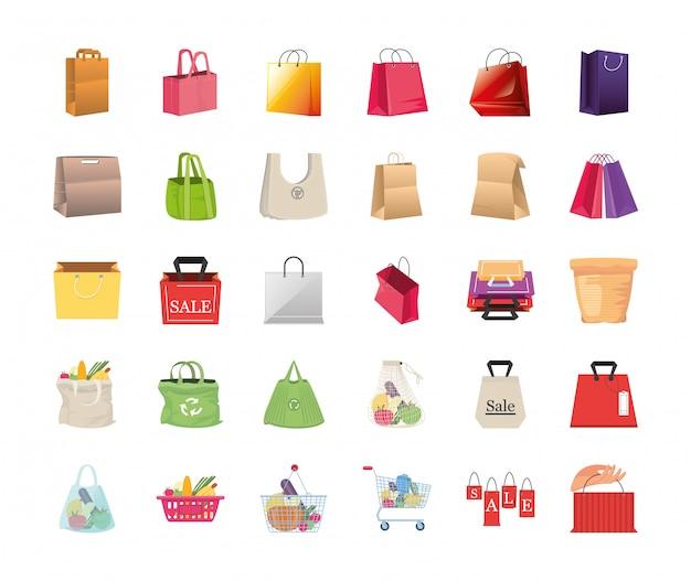 Conjunto de sacolas de ícones no fundo branco Vetor Premium