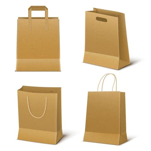 Conjunto de sacolas de papel vazio Vetor grátis