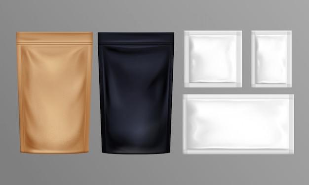 Conjunto de sacos de papel de folha de bolsa Vetor grátis