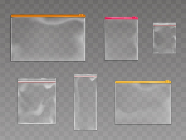 Conjunto de sacos de plástico zip Vetor grátis
