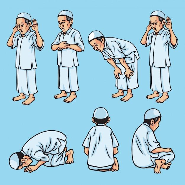Conjunto de salah, sholat, shalat, muçulmano rezar movimento, ilustração Vetor Premium