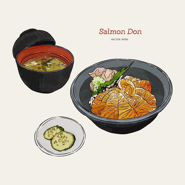 Conjunto de salmão donburi, mão desenhar desenho vetorial. comida japonesa Vetor Premium
