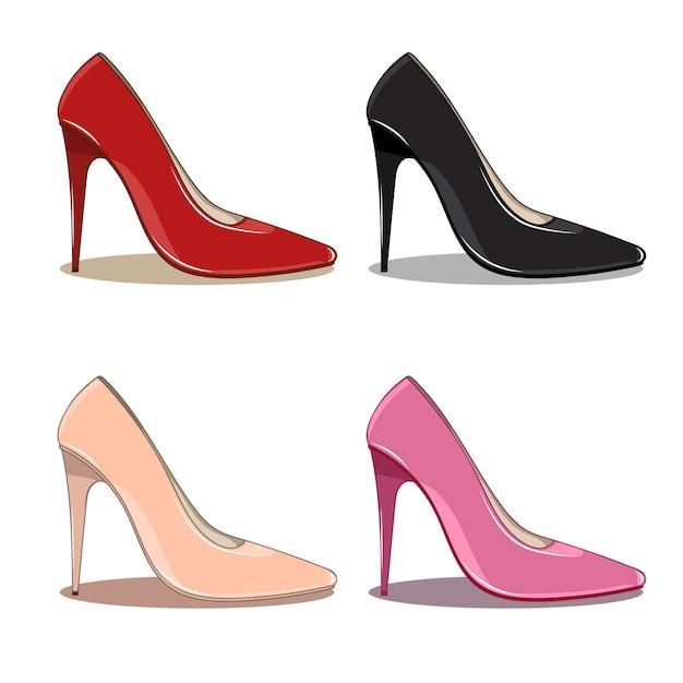 Conjunto de sapatos femininos de alta moda Vetor Premium