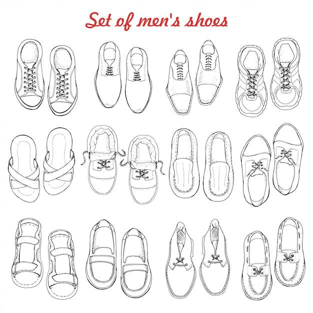 Conjunto de sapatos masculinos em fundo branco Vetor Premium