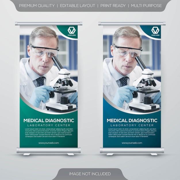 Conjunto de saúde rollup x-banner com conceito simples Vetor Premium