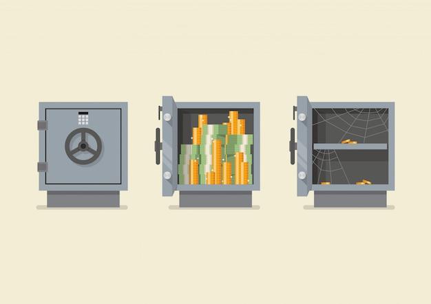 Conjunto de segurança de metal seguro Vetor Premium