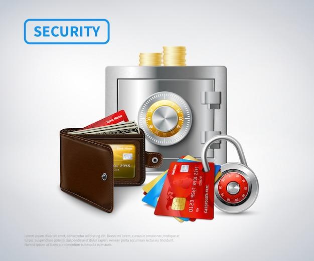 Conjunto de segurança realista de dinheiro Vetor grátis