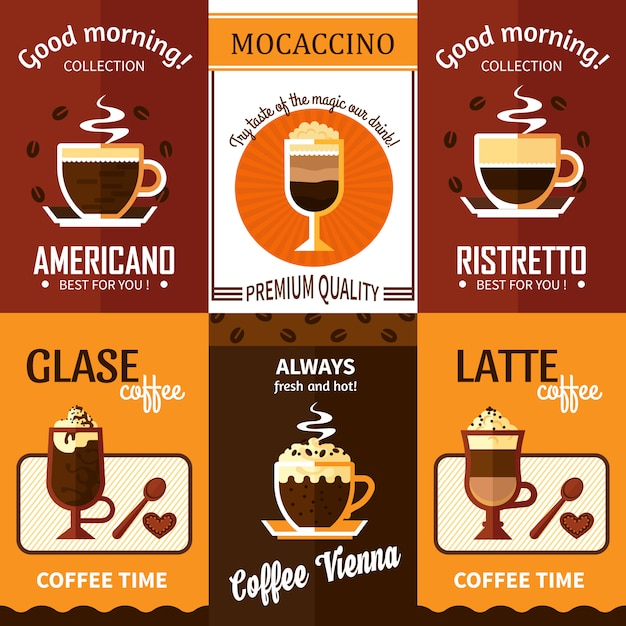 Conjunto de seis banners de café Vetor grátis