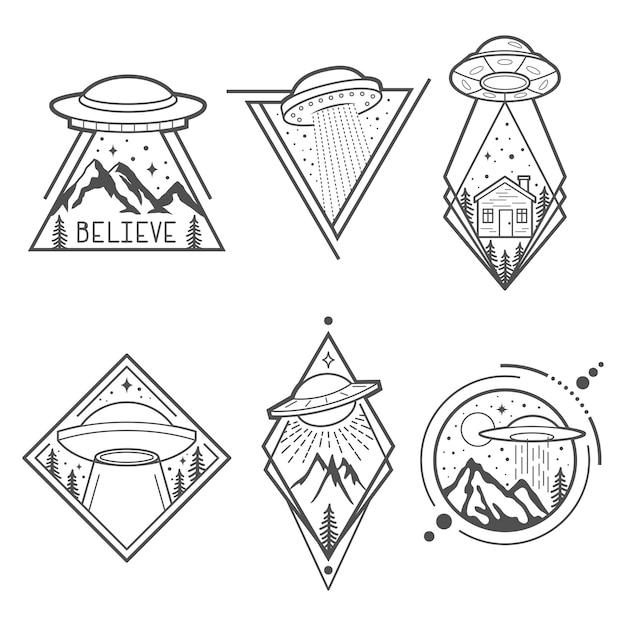 Conjunto de seis emblemas de ovnis Vetor Premium