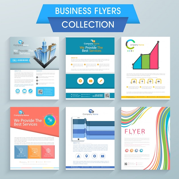 Conjunto de seis flyers profissionais design para o seu negócio Vetor Premium