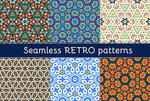Conjunto de seis padrões étnicos sem costura. Vetor Premium