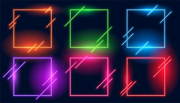 Conjunto de seis quadros modernos quadrados com luz neon Vetor grátis