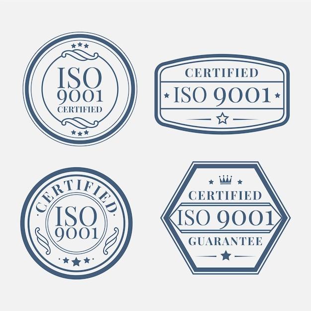 Conjunto de selo de certificação iso Vetor grátis