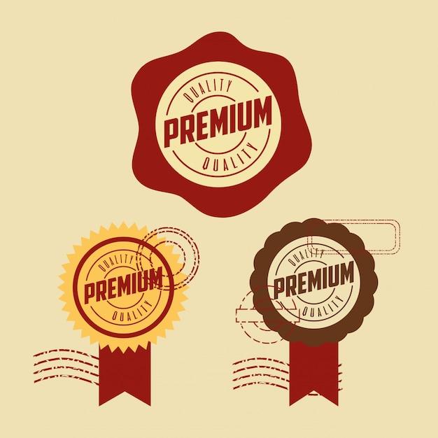 Conjunto de selo de qualidade premium Vetor grátis