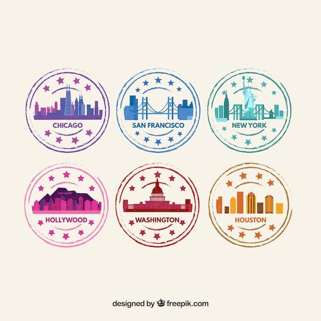 Conjunto de selos coloridos da cidade no design plano Vetor grátis