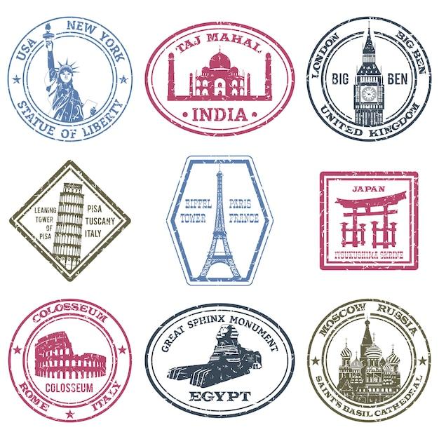 Conjunto de selos de monumentos Vetor grátis