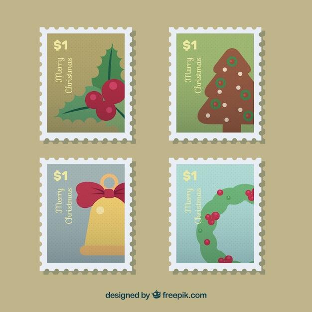 Conjunto de selos de natal Vetor grátis