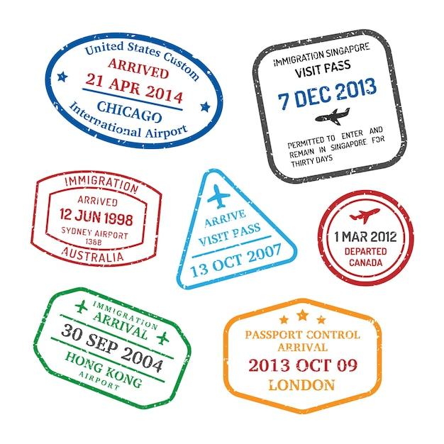 Conjunto de selos de viagens internacionais de negócios Vetor grátis