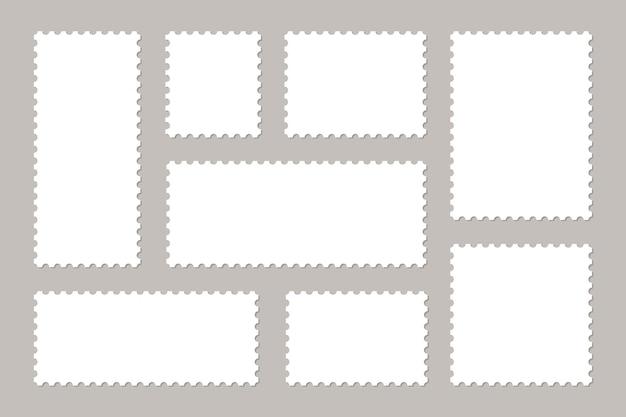 Conjunto de selos em branco. molduras de selos para envelopes de correio. Vetor Premium