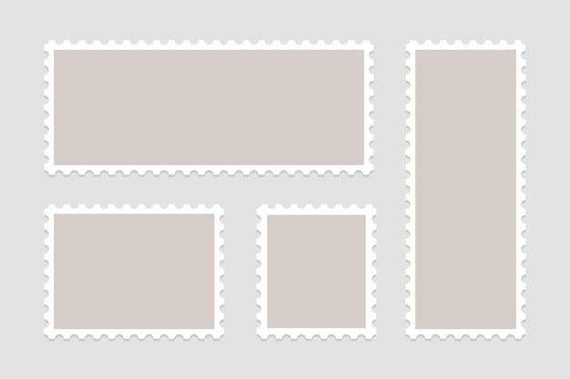 Conjunto de selos em branco. molduras de selos postais. Vetor Premium