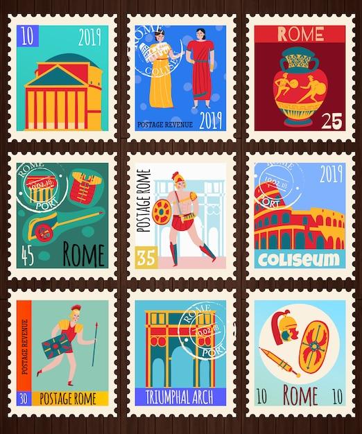 Conjunto de selos postais do antigo império de roma Vetor grátis