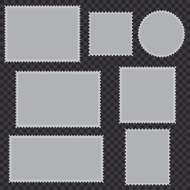 Conjunto de selos postais em branco Vetor Premium