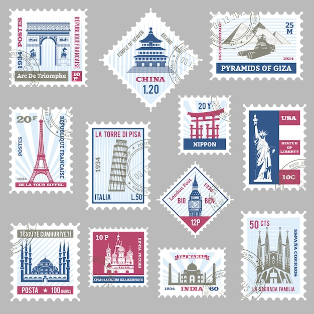 Conjunto de selos postais Vetor grátis